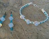 Frosty Opalite, Adjustable Hemp Bracelet, Matching,  Dangle Earrings, Jewelry Gift Set, Gift for Her, Free Shipping in USA