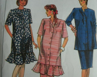 Size 14 Maternity Skirt and Dress or Tunic in Misses Sizes Simplicity Great Expectations Lady Madonna Pattern 9030 UNCUT Pattern 1989