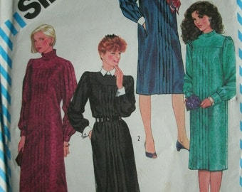 Misses Tucked Dress Size 14 Simplicity Vintage 1983 Pattern 6168 UNCUT Pattern Absolutely Stunning Dress  Dated 1983