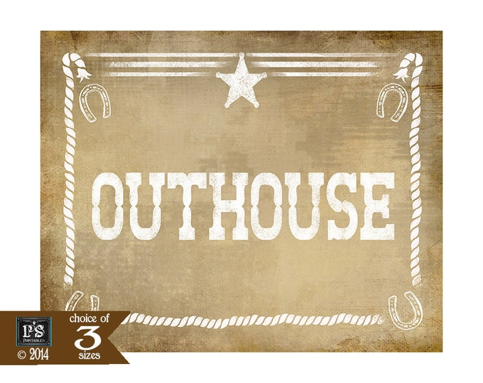 Western Themed Bathroom Outhouse signs - Vintage Style - PRINTABLE file  DIY Western Wedding or party  signage