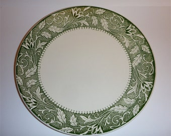 "Green floral 10"" dinner plates Meakin Renaissance style"