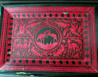 Olinala Mexican Folk Art  traditional folk art lacquered birds and animals tray in cranberry red with black
