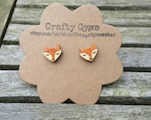 Wooden sleeping fox face earrings - fox jewellery Sterling Silver posts available