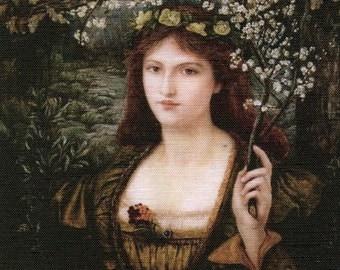 Lady portrait applique piece cotton fabric