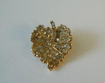 OMAR Signed Leaf Rhinestone Gold ToneBrooch Pin