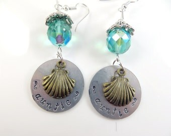 Hand stamped sea shell Auntie earrings