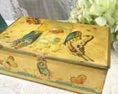 Antique Butterfly Artstyle Chocolates tin casket box, biscuit candy, vanity, trinket, storage, Art Deco, Romantic, jewelry decor confections