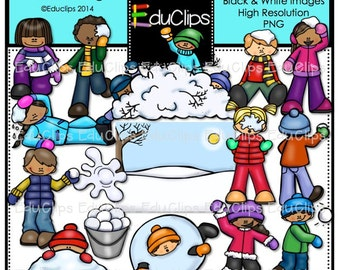 Snowball Fight Clip Art Bundle