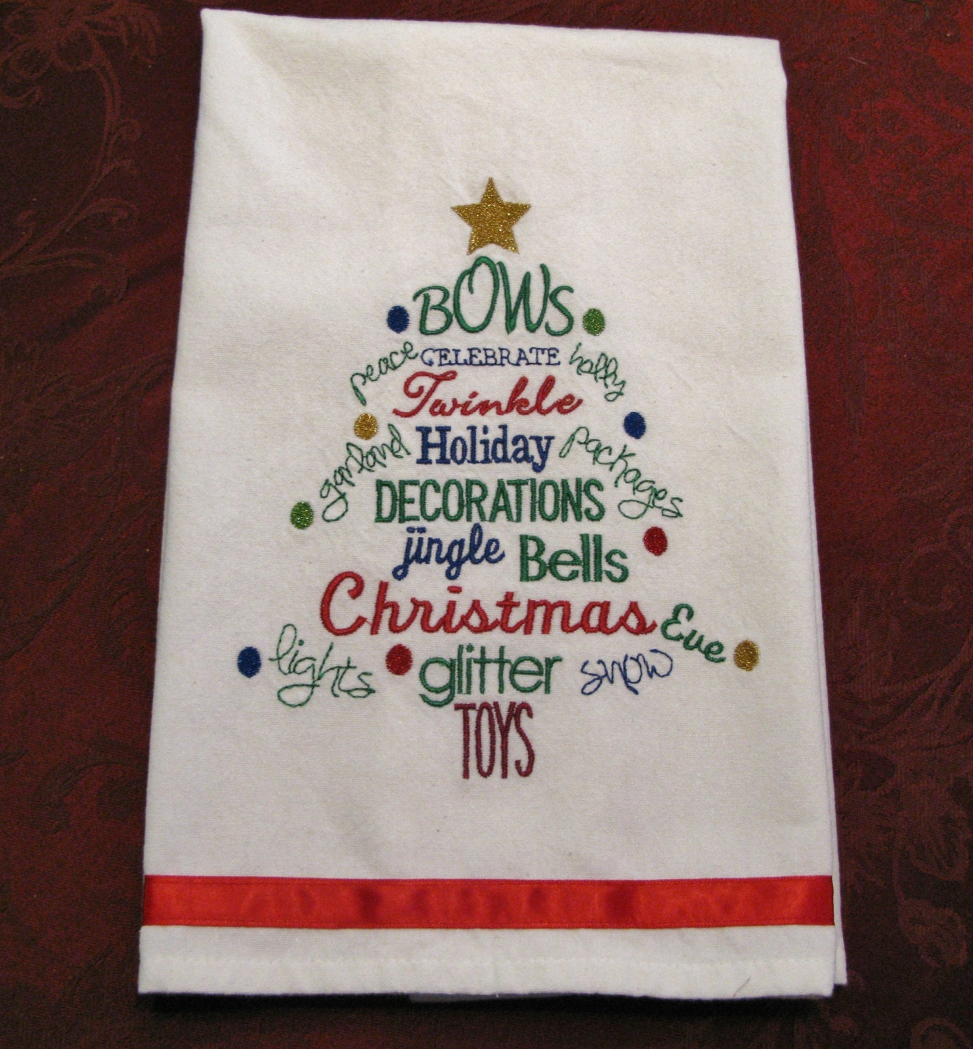 Embroidered Christmas Kitchen Towel Tea Towel Dish Towel