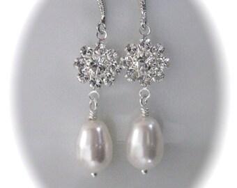 Crystal Bridal Earrings Wedding Jewelry Swarovski pearl Bridal Jewelry