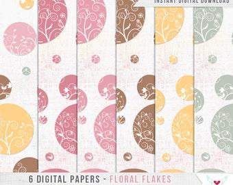 6 Digital Papers - Floral Flakes - Scrapbooking - Digital Instant Download