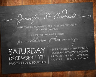 Modern Elopement Chalkboard Invite - Reception Invite - Chalkboard Invite - Eloping Invite
