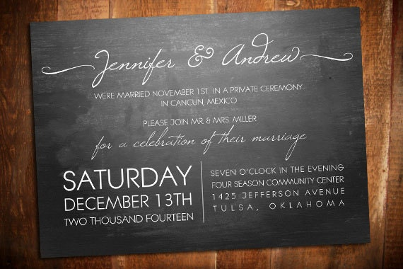 Wedding Welcome Dinner Invitation Wording: Modern Elopement Chalkboard Invite Reception Invite
