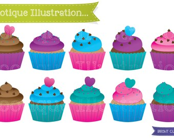 Cupcakes Clipart Set. Bright Cup Cakes Clip Art. Bright Cupcake Clipart. Colorful Cupcakes Clip Art. Cupcakes Vectors. Birthday Clipart.