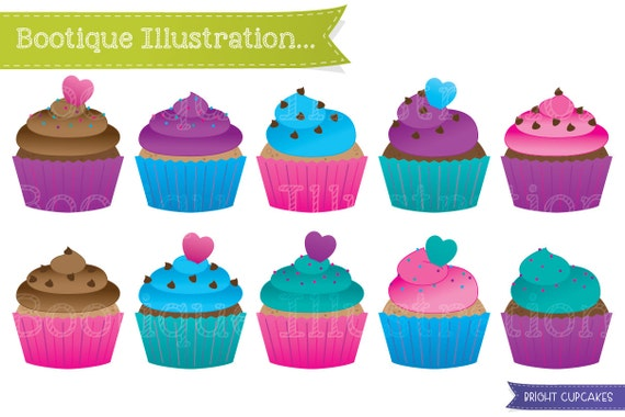 cupcakes clipart set bright cup cakes clip art bright