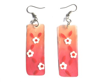 Vintage Mother of Pearl Earrings - Pastel Floral Dangles, Ombre Shades of Pink