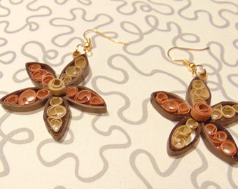 Quilling Earring let's flower beige & brown