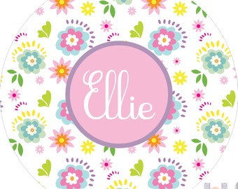 Personalized girls Spring melamine plate! Add one to your Easter baskets! Kids love eating on plates with their names on them!