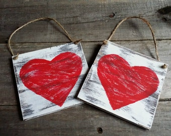 Distressed Rustic Wooden Heart Signs, Valentines Decor, Grungy Primitive Wooden Valentine  Signs, Wooden Heart Door Hanger, Set of 4