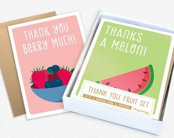 Thank you card set - Assorted cards set- Set Of 8 Card - Boxed cards set - Notecard set- Thank you cards bulk- Cards- Thank You Fruit Set