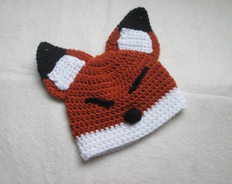 Sleepy Fox Crochet Hat Baby to Adult - Dress Up, Costume, Photo Prop, Everyday Wear