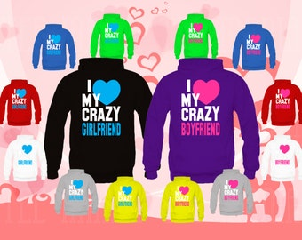 2Couple matching Hoodies (I Love My Crazy Boyfriend, Girlfriend) sweatshirts