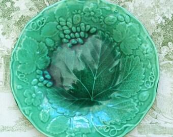 Two Antique Green Majolica Strawberry and Grape Vine Stoneware Plates c1880