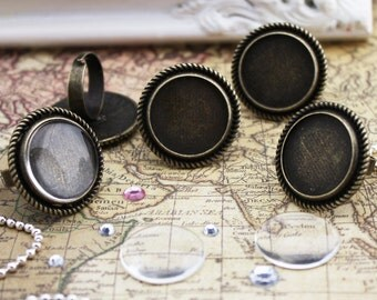 5 of Victorian Rings Kits, Blank Ring Settings, 20mm Glass Cabochons, Circle, Adjustable, Antique Bronze
