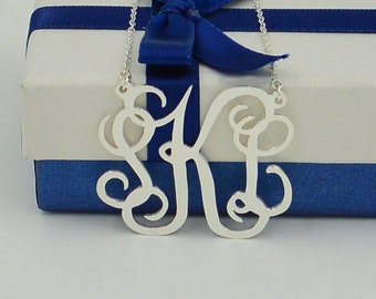 Extra large monogram necklace,Christmas gifts,925 silver monogram gifts,Personalized monogram jewelry