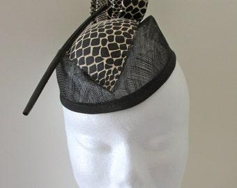 Black Brown Snakeskin Suede Pillbox Fascinator Hat for Races, Weddings, Special Events