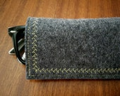 Sunglass eyeglass Case soft grey 100% wool felt, yellow embroidered thread pouch, custom made for her, gift
