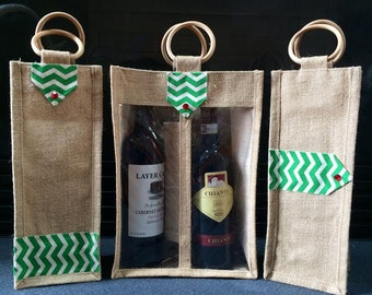 Jute Wine Bottle Carriers- Burlap wine bottle Bags for any occasion- Set of 3 Bags