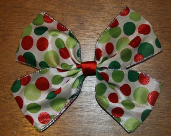 6.5 inch Red, White and Green Sparkly Spotted Christmas Bow