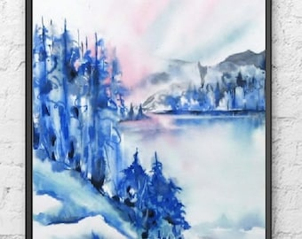 All Shop Reduced Shipping Canada,Watercolor Painting Print Abstract Landscape Art,Scenic Forest,Blue Wall Decor,8x10,11x14 13x19 Large Small