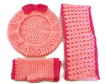 Peach and Coral Tam, Cowl and Fingerless Gloves Set