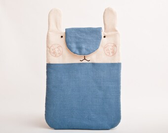 Blue iPad Case, Bunny iPad Sleeve, Rabbit, iPad Cover