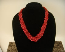 Adjustable Braided Red Necklace