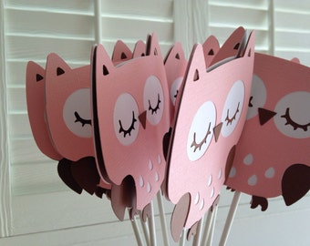 Owl Centerpieces Set of 12 Owl baby shower decor/ owl birthday