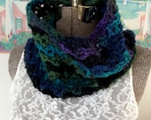 Handmade Crochet Cowl, Pullover, Scarf, Greens, Blues, Turquoises, Purple, Black, Soft, Collar, Scarflet