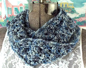 Crochet Infinity Scarf Cornflower Blue Lavender Lilacs Wrap it Once or Twice Around Cotton