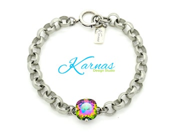 ELECTRA CHAIN 12mm Crystal Cushion Cut Bracelet Made With Swarovski Elements  *Antique Silver *Karnas Design Studio *Free Shipping*