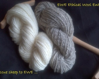 Natural handspun 10ply yarn (Aran/Sports)  100g skein