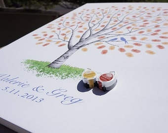 Custom Guest Book Wedding Gift Tree Personalized Wedding Gift Birch Unique Guestbook Alternative Wedding Fingerprint Tree Wedding Thumb Tree
