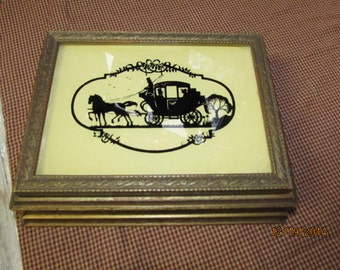Vintage Wood Silhouette Carriage Ride Picture Frame Mirrored Jewelry Box Trinket Box Vanity Glass