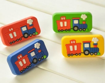 Kids Dresser Pulls Drawer Pull Handles Knobs Red Blue Yellow Green Car Train Childrens Cabinet Handle Pull Knob Colorful Hardware Decorative