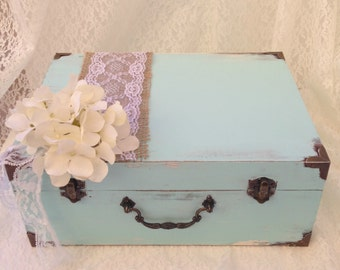 Wedding Card Holder Rustic Wedding Card Holder Shabby Chic Wedding Card Trunk Wedding Card Box Shabby Chic Wedding Card Suitcase