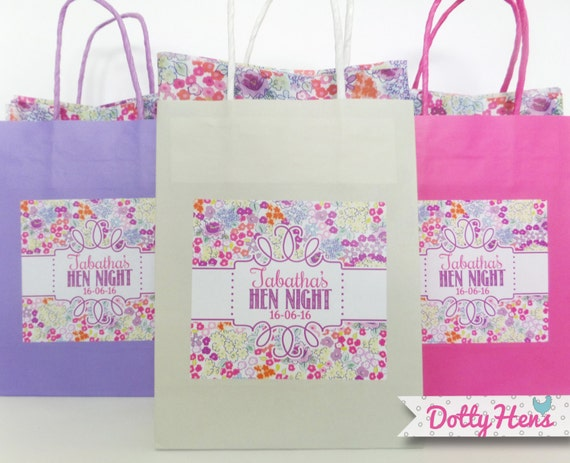 ... Hen NIght Wedding Birthday Party Gift Favour Bag - with Floral tissue