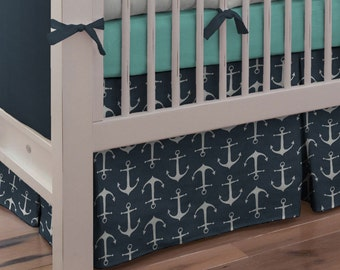Boy Baby Crib Bedding: Navy Anchors 2-Piece Set by Carousel Designs