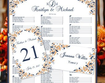 """Wedding Seating Chart """"Kaitlyn"""" Navy Blue & Orange Monogram Templates Printable Table Number and Place Card Word.doc  ALL COLORS DIY U Print"""