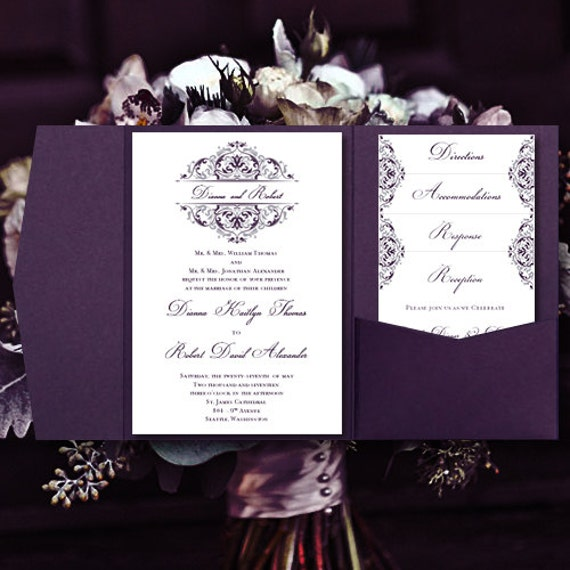 DIY Pocketfold Wedding Invitations Grace Purple